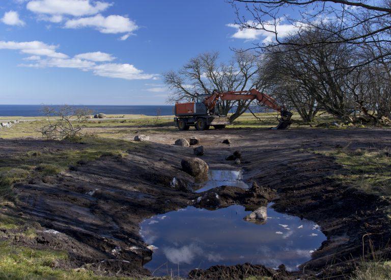 Nygrävd våtmark med grävmaskin och havet i bakgrunden på Ravlunda skjutfält